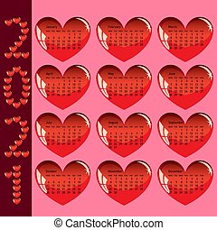 Stylish calendar with red hearts for 2021