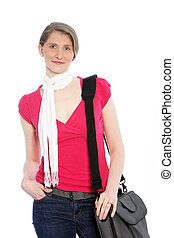Stylish casual woman with sling bag