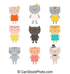 Stylish cats. Cute kittens for your design. Trendy style for kids