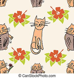 Stylish cats pattern