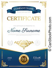 Stylish certificate design with blue ribbon place for text and gold award vector illustration