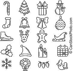 stylish christmas icon set in line art style esp 10