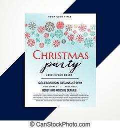 stylish christmas party flyer design with snowflakes pattern