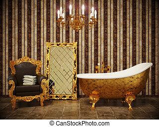 bathroom - stylish classic bathroom with striped wallpaper ...
