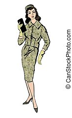 Stylish cloth woman. Fashion dressed girl 1960's style: Retro dress party