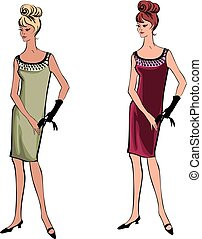 Stylish cloth woman. Fashion dressed girl 1960's style: Retro dress party