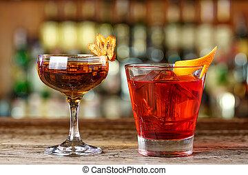Stylish cocktails on the bar