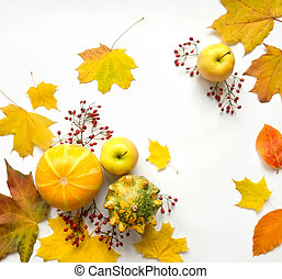 Stylish composition of vegetables, fruits, autumn leaves, berries. Top view on white background. Autumn flat lay