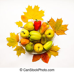 Stylish composition of vegetables, fruits, autumn leaves. Top view on white background. Autumn flat lay