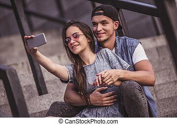 Stylish couple in city