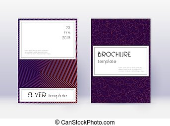 Stylish cover design template set. Violet abstract lines on ...