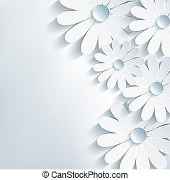 Stylish creative modern abstract background, 3d flower chamomile. Floral gray background. Vector illustration. Vector background