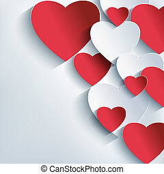 Stylish creative abstract background, 3d red and gray heart