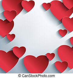 Stylish creative abstract background with red 3d hearts