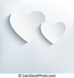 Stylish creative abstract background with two 3d hearts