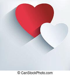 Stylish creative background with 3d red and gray hearts