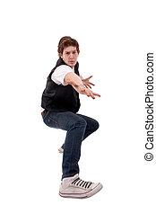 stylish dancer making a hip hop gesture