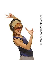 Stylish dancing girl with headphones