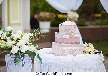 stylish decorated box for gifts at the reception in a restaurant for a wedding ceremony