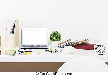 Stylish designer desk closeup