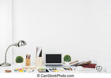 Stylish designer tabletop closeup