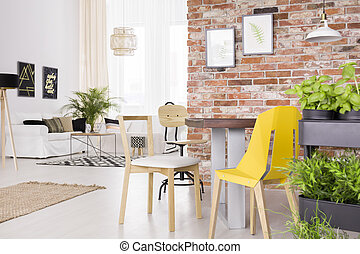 Stylish lounge and dining hall. Small stylish lounge connected with ...