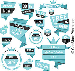 stylish discount sale concept labels and stickers vector