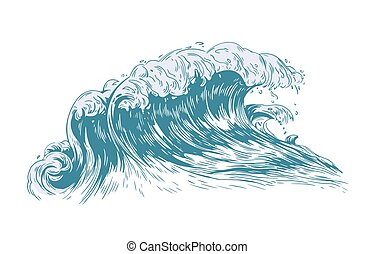 Stylish drawing of sea or ocean wave with foaming crest isolated on light background. Oceanic storm, tide, tsunami seawave. Seawater or saltwater. Realistic vector illustration in antique style.