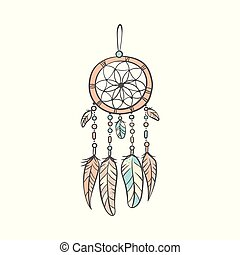 Stylish dream catcher with feathers in soft colors doodle vector illustration isolated.