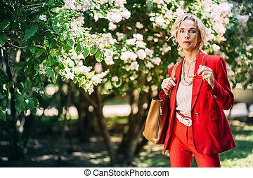 stylish elderly model