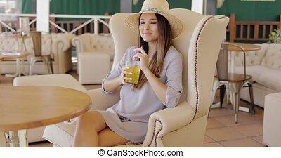 Stylish elegant woman having drink - Beautiful elegant woman...