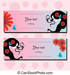 Stylish face of woman with long hair. Template design card