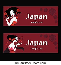 Hair salon business card templates with red hair on green vectors stylish face of woman with long hair template design card template business wajeb Images