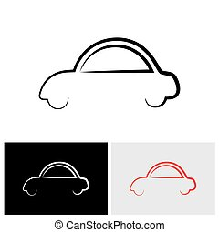 stylish family car abstract sign or symbol - vector logo icon.