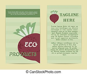 Stylish Farm Fresh flyer, template or brochure design with beet vegetable. Mock up design with shadow. Vintage colors. Best for natural shop, organic fairs, eco markets and local companies. Vector