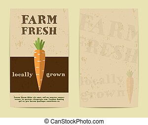Stylish Farm Fresh flyer, template or brochure design with carrot. Mock up design with shadow. Best for natural shop, organic fairs, eco markets and local companies. Vector