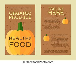 Stylish Farm Fresh flyer, template or brochure design with pumpkin vegetable. Mock up design with shadow. Vintage colors. Best for natural shop, organic fairs, eco markets and local companies. Vector