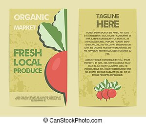Stylish Farm Fresh flyer, template or brochure design with radish vegetable. Mock up design with shadow. Vintage colors. Best for natural shop, organic fairs, eco markets and local companies. Vector