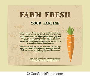 Stylish Farm Fresh poster, template or brochure design with carrot. Mock up design with shadow. Best for natural shop, organic fairs, eco markets and local companies. Vector