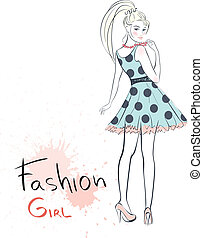 stylish fashion beauty girl. Colorful vector illustration