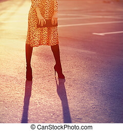 Stylish fashion concept, elegant pretty woman in leopard dress w