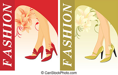 Stylish female shoes. Two cards