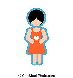 Stylish flat icon on white background pregnant Girl