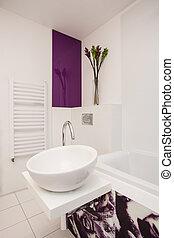 Stylish flat - White vessel sink - Stylish flat - Closeup of...
