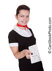 Stylish flight attendant with ticket - Stylish attractive...