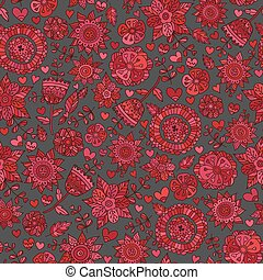 Stylish floral background, hand drawn retro flowers