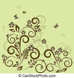 Stylish floral green background