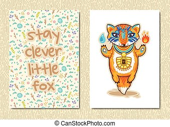 Stylish floral poster with cute fox in cartoon style