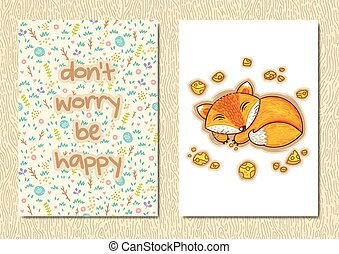 Stylish floral poster with cute sleeping fox in cartoon style