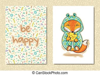 Stylish floral poster with happy fox in cartoon style